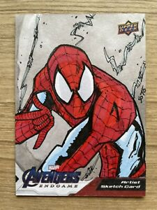 Upper Deck Marvel Avengers Endgames Spider-Man Omar Soto Art Sketch Card 1/1