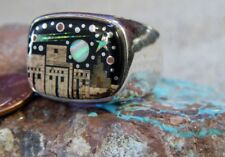 New Mens Sterling Silver Night Sky Mirco Inlay Ring Navajo Fred Begay Size 12