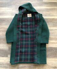 Vintage Gloverall Wool Duffle Coat Jacket Women Size 8 Made England Green Tartan
