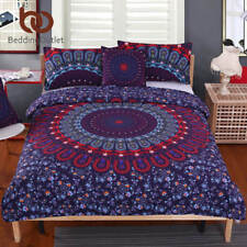 5pcs Bed in a Bag Floral Bedding Set Queen Size Mandala Pattern Duvet Cover Boho