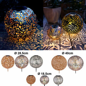 LED Solar Kugel Leuchten Dekor Stanzung Garten Steck Strahler Hof Außen Lampen