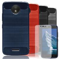 Phone Shell+Tempered Glass For Motorola Moto C Plus Mobile Soft Back Cover Case