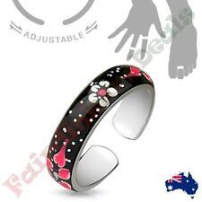 Adjustable Toe Ring/Mid Rings with Black Sparkle Enamel Painted Flowers