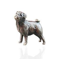 Pug Dog Bronze Miniature Sculpture - Butler & Peach.