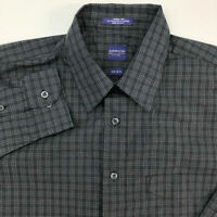 Arrow Dress Shirt Mens 15 Gray White Long Sleeve Check Chest Pocket Wrinkle Free