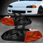 For 92-95 Honda Civic Smoked Housing Amber Corner Headlight Replacement Lamps