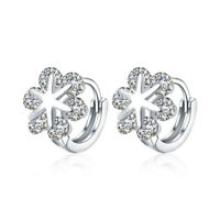 18K White Gold Plated Floral Design Clip on Earrings with 6 Swarovski Crystals