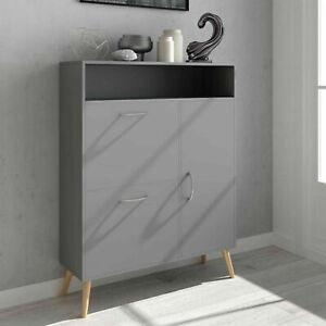 3 Tier Shoe Storage Wood Cabinet Cupboard with 2 Drawer & Door & Shelf Unit Grey