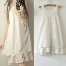 Vintage Embroidery Blouse Womens Dresses Summer White Mini Dress Cotton Tops
