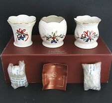Lenox China Winter Greetings Set of 3 Votives Tea Light Candle Holders Xmas $43