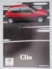 RENAULT Clio 1991 UK SALES BROCHURE-RL, RN, RT Models. auto dell'anno 1991.