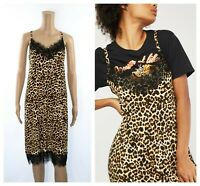Leopard Print Lace Trim Party Cocktail Cami Dress