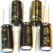 6x Panasonic FM 470uF 35v Low-ESR radial capacitors caps 105C 10mm 10x20