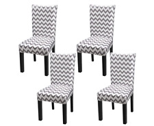 Fuloon Stretch Chair Cover Removable Washable White Stripe Zig Zag NEW 4 Pack