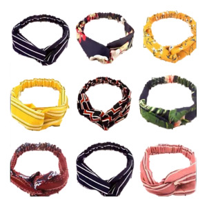 9 PC Set of Women Girls Summer Bohemian Hair Bands Print Headbands Retro Cross T