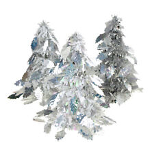 Iridescent Holly Leaf Christmas Tinsel Tabletop Tree, Silver, 10-Inch, 3-Piece