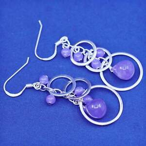 Vintage sterling silver handmade earrings, 925 circles w/ bead amethyst dangles