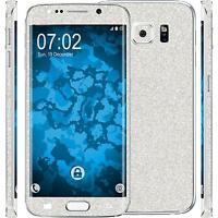 2 x Glitzer-Folienset für Samsung Galaxy S6 Edge Plus silber Schutzfolien