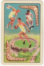 Playing Cards 1 Swap Card  Vintage MELBOURNE OLYMPIC GAMES Hockey Discus Running