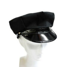 Black Octagon Hat Captain Skipper Police Sheriff Hat Cap Party Costume Cosplay Q