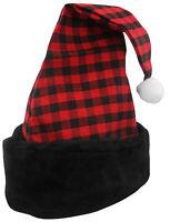 Unisex Plush Buffalo Plaid Check Santa Hat Stocking Cap Christmas Accessory