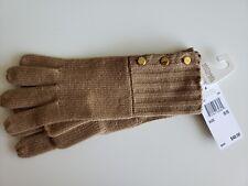 Michael Kors Tuck Stitch Beige CAM Knit Gloves 537152C Gold Buttons Sz O/S $48