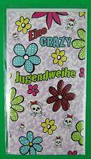 SUSY CARD Jugendweihekarte Blumen und Totenköpfe 170 x 110 mm, 3 Stück