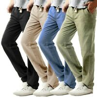 Men's Casual Slim Fit Trandhosen Linen Hose Pant Solid Adjustable Long Trousers