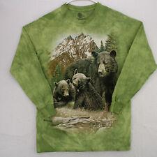 THE MOUNTAIN Black Bear Cubs Green Long Sleeve Graphic Art T-SHIRT MEN'S ADULT M