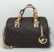 Michael Kors Grayson Monogram MD Satchel-Doctors Handbag PVC Signature Brown