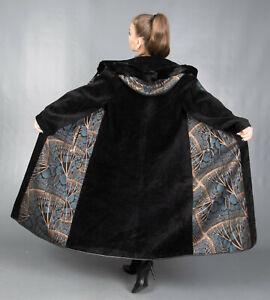 8717 NEW GLAMOROUS REVERSIBLE SHEEPSKIN COAT FUR HOOD MINK BEAUTIFUL LOOK SIZE L