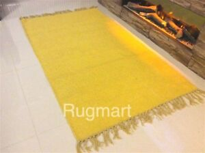 Eco Friendly Plain Yellow Recycled Cotton Rich Yarn Reversible Washable Rugs