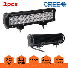 2X 12inch 72W Cree LED Work Light Bar Spot Lamp SUV Offroad Driving 4WD Fog Jeep