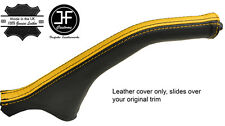 BLACK & YELLOW STRIPE LEATHER HANDBRAKE BOOT FOR MITSUBISHI MAGNA DIAMANTE 99-03