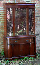 VINTAGE PETITE DIMINUTIVE MAHOGANY CHINA CABINET HUTCH GLASS DOORS CIRCA 1950'S