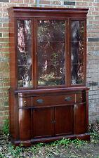 VINTAGE PETITE DIMINUTIVE MAHOGANY CHINA CABINET HUTCH GLASS DOORS CIRCA 1950'S