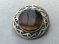 Celtic Brooch Tigers Eye Quartz Silver Pin Scottish Vintage Costume Jewellery