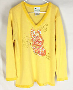 QUACKER FACTORY Sweater Size Large Pullover Yellow Embellished Butterfly Womens