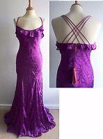 MONSOON Purple Silk Mix Evening Dress Maxi Long Ballgown Size 10 BNWT