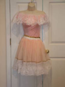 new/ pkg pink white lace classical ballet dance recital costume adult medium 5-9
