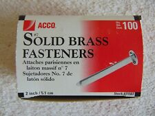 ACCO  #7 Solid BRASS Fasteners 2'' 5.1 cm ( Qty. 100) #71507