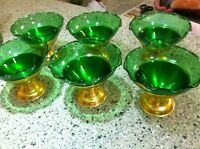 Set Of 6 Green Sherbets With Aluminum Stands Bases, Excellent!