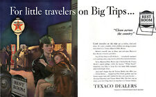 Texaco Registered Restrooms GAS STATION Pumps SLEEPING GIRL & MOM Large 1940 Ad