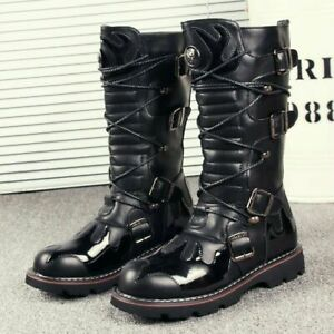 Mens Gothic Punk Lace Up Knee High Boot Military Motorcycle Biker Shoes Fashion