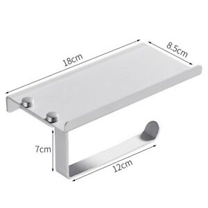 Toilet Paper Holder Aluminum Bathroom Kitchen Wall Mount Stand No Drill SelU173