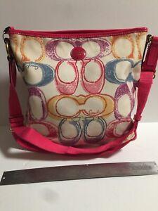 Coach Cream Cloth Handbag Pink Pattened Leather Trim 12x12x3 Woven Strap Adj