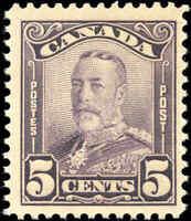 Mint NH Canada 5c 1928 F+ Scott #153 King George V Scroll Issue Stamp