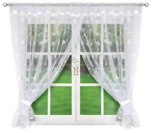 Fertiggardine Gardine Vorhang Panel Weiß Voile Wohnzimmer Blumen 400cm x 160cm