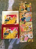 Vintage Hermann Eichhorn German Block Puzzle Grimm's Fairy Tale Case & Guides
