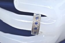 18k White Gold Ladies Diamond and Sapphire Ring. Size 6